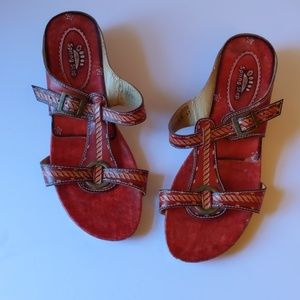 Spring Step red handtooled leather sandals-sz9 1/2